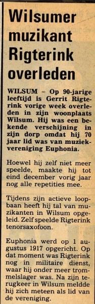 Overlijden  Gerrit Rigterink