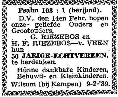 9 februari 1939. Gerrit Riezebos en Harmina Francina -van Veen.