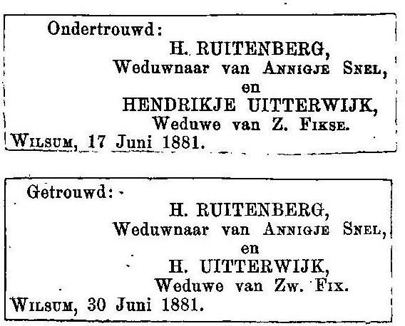 juni 1881. Huwelijk H. Ruitenberg en H. Uiterwijk