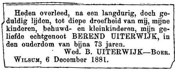 6 december 1881. Berend-Uiterwijk.