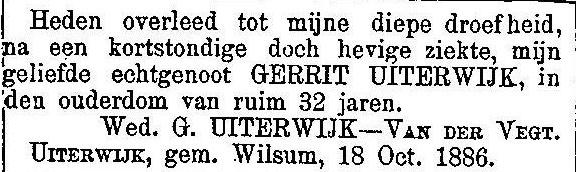 8 oktober 1886. Gerrit Uiterwijk.