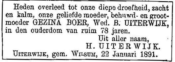 22 januari 1891. Gezina Uiterwijk-Boer.