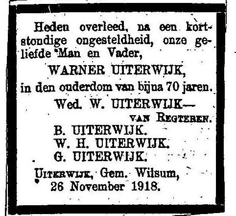 26 november 1918 Warner Uiterwijk