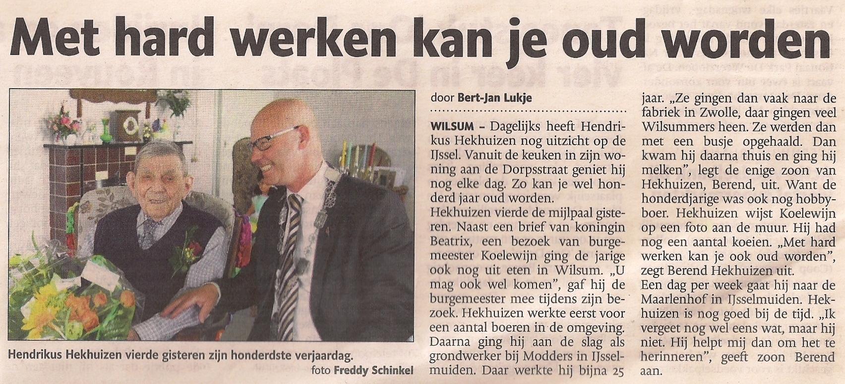 Hendrikus Hekhuizen 100 jaar.